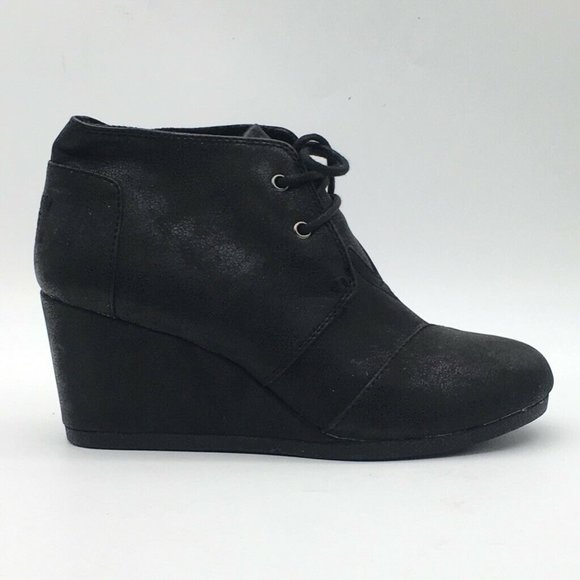 Toms Womens Ankle Boots Black Wedge